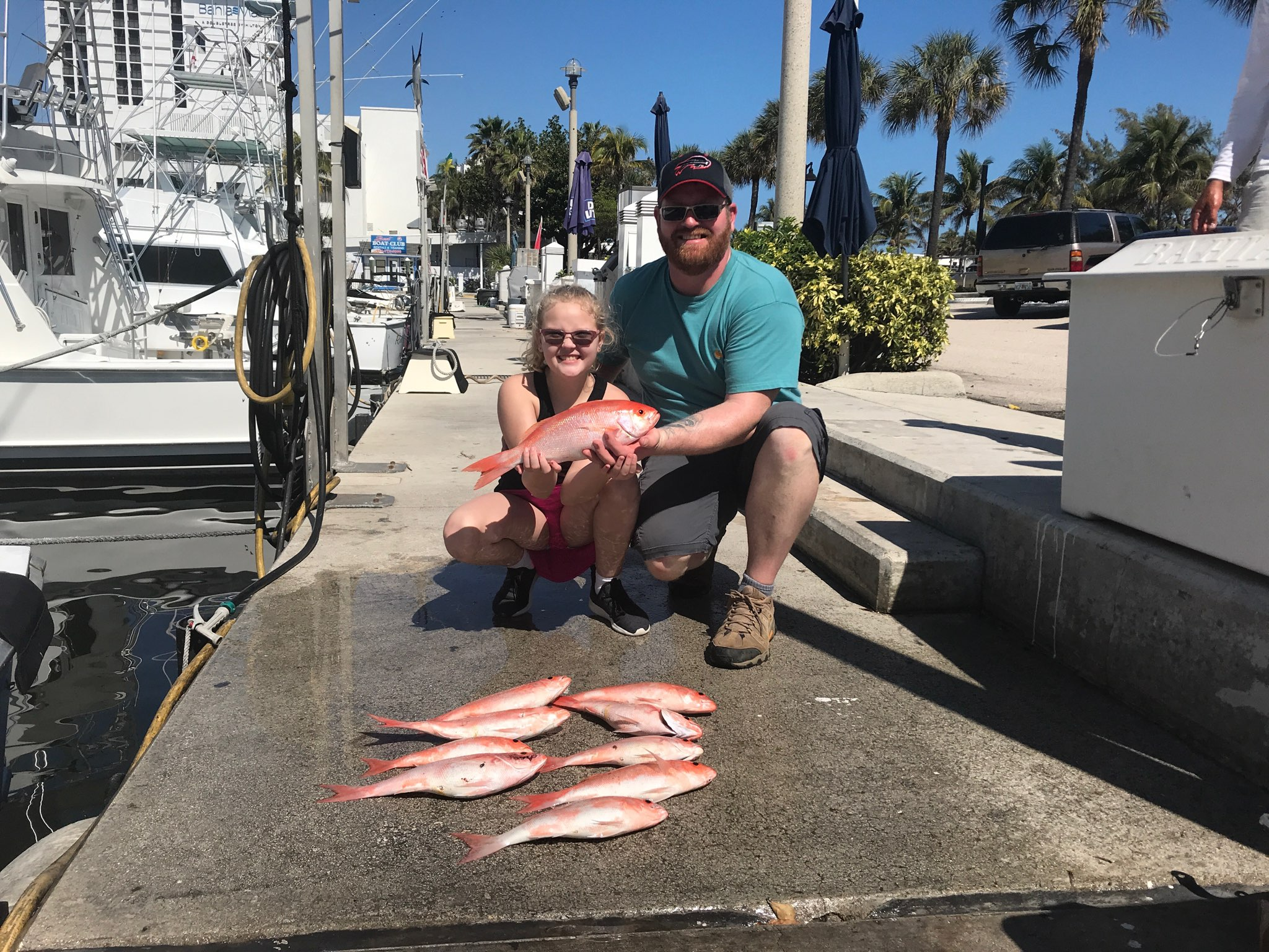 Father and daughter fishing Fort Lauderdale